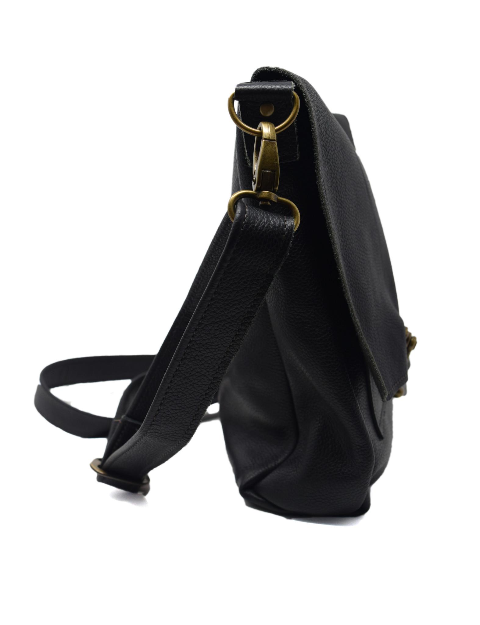 Leather Crossbody Black Textured-3