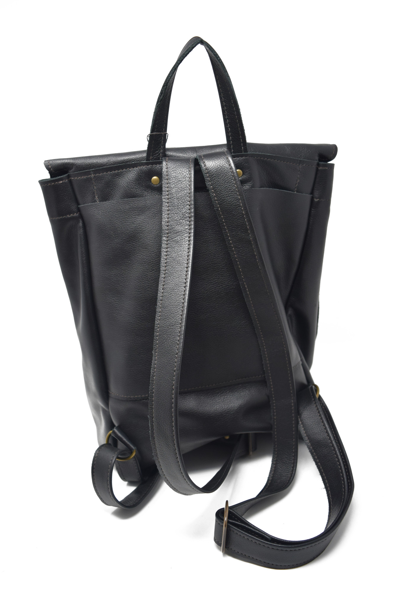 Small Leather Backpack Black-2