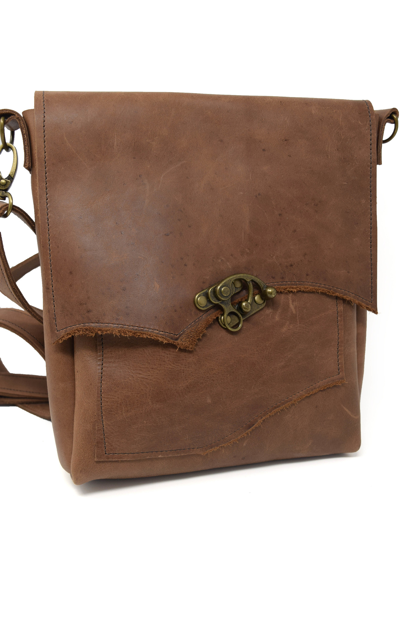 Leather Crossbody Light Brown-1