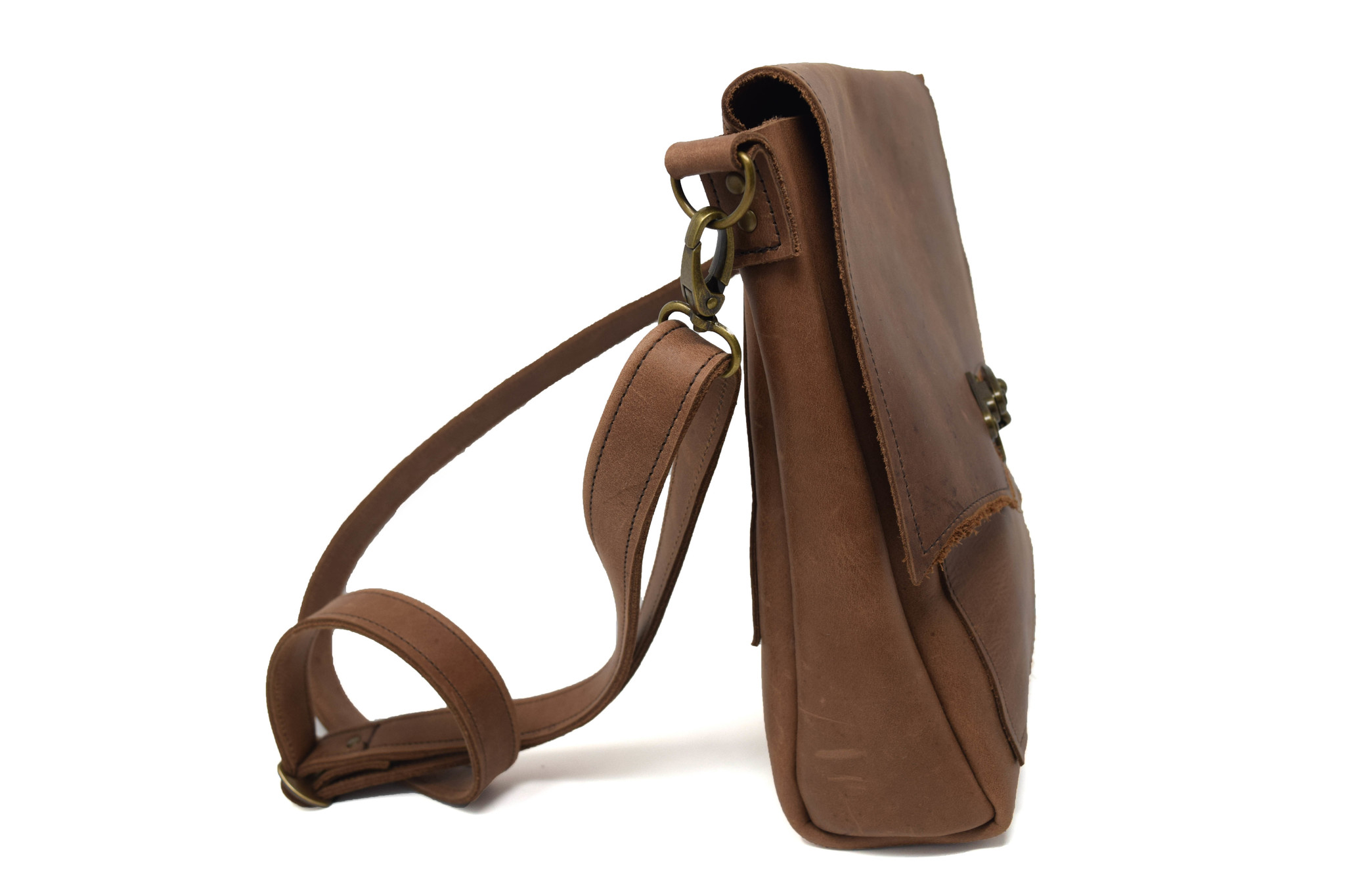 Leather Crossbody Light Brown-2