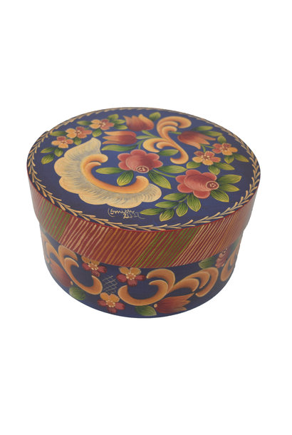 Round Deep Blue/Purple with Flowers Box