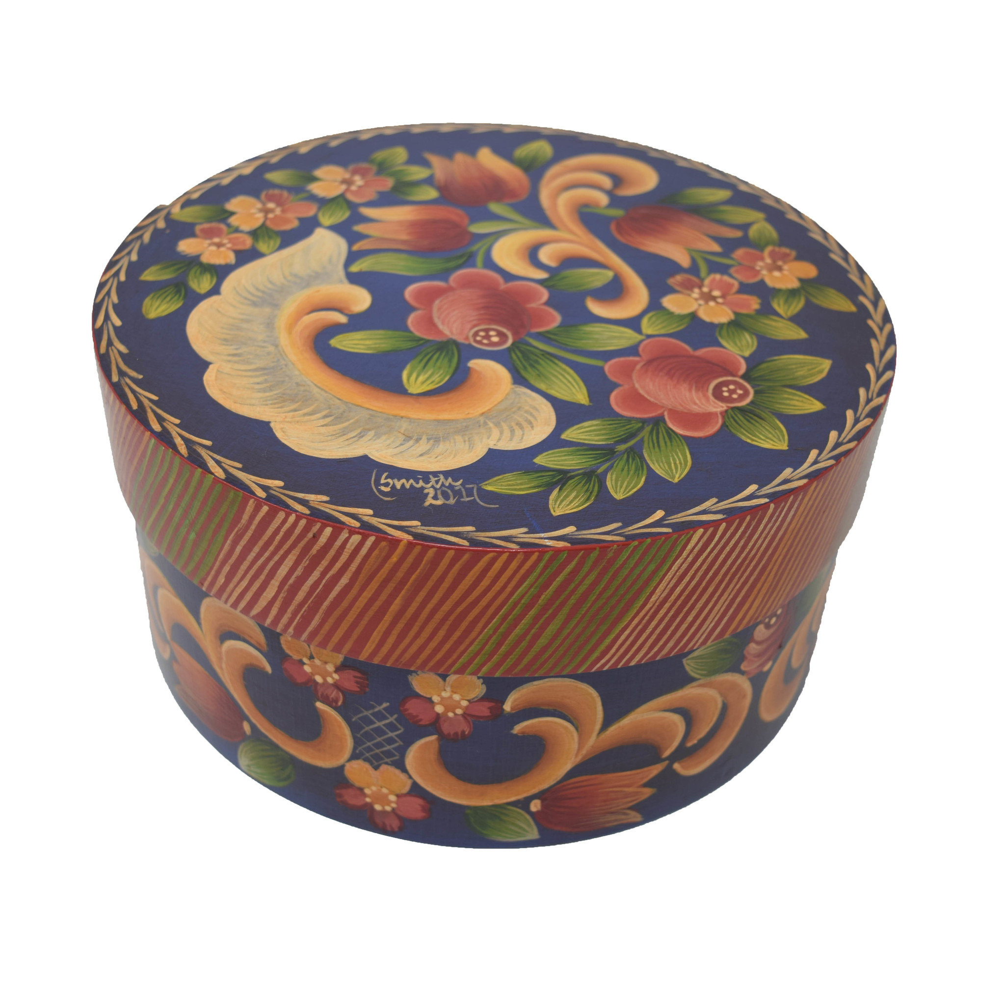 Round Deep Blue/Purple with Flowers Box-1
