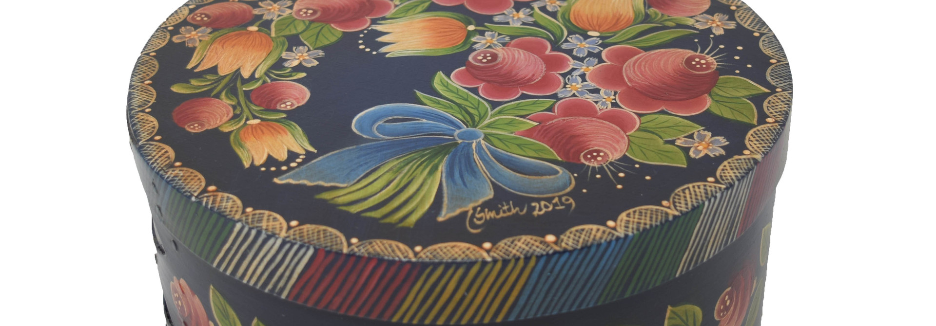 Round Navy Blue Box with Flowers