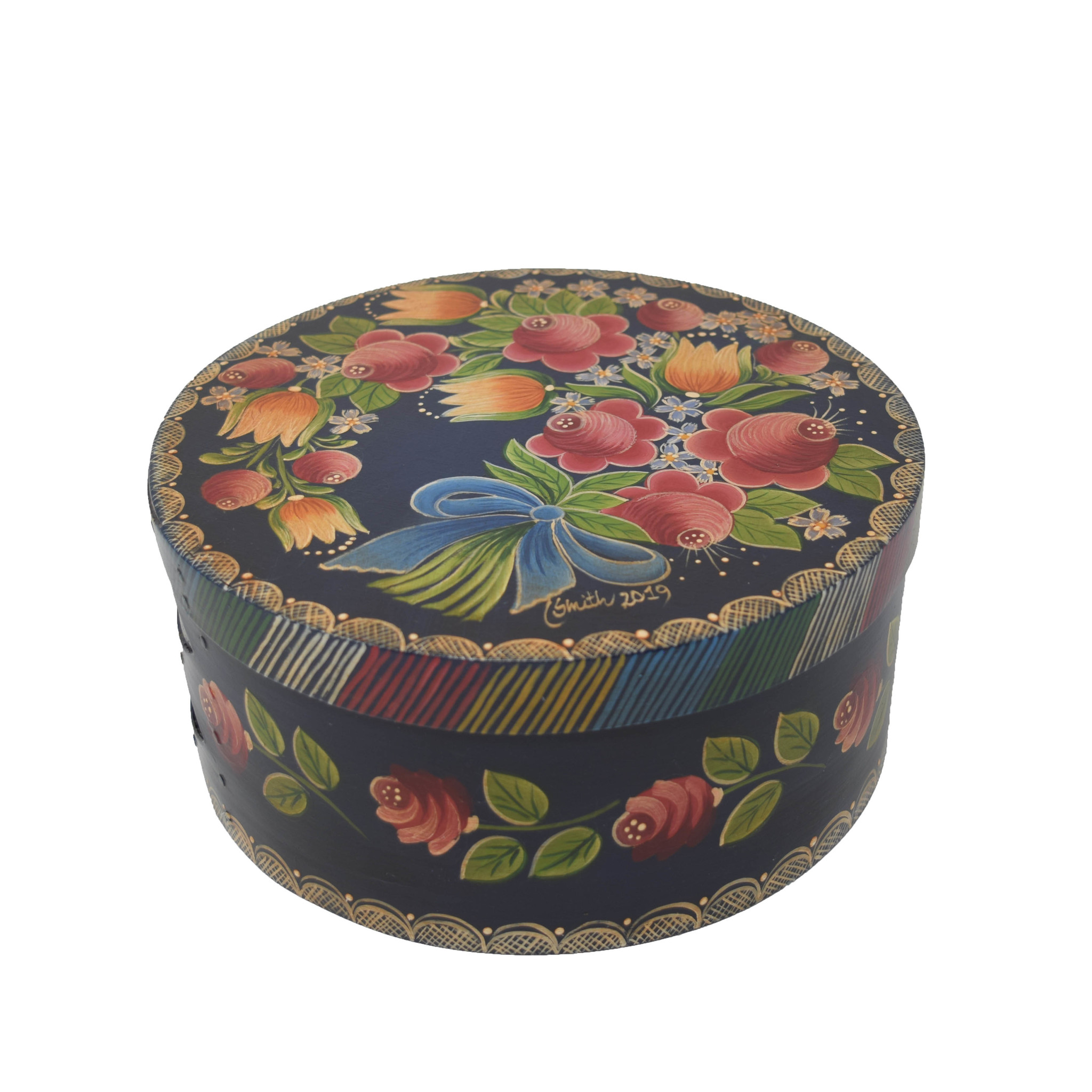 Round Navy Blue Box with Flowers-1