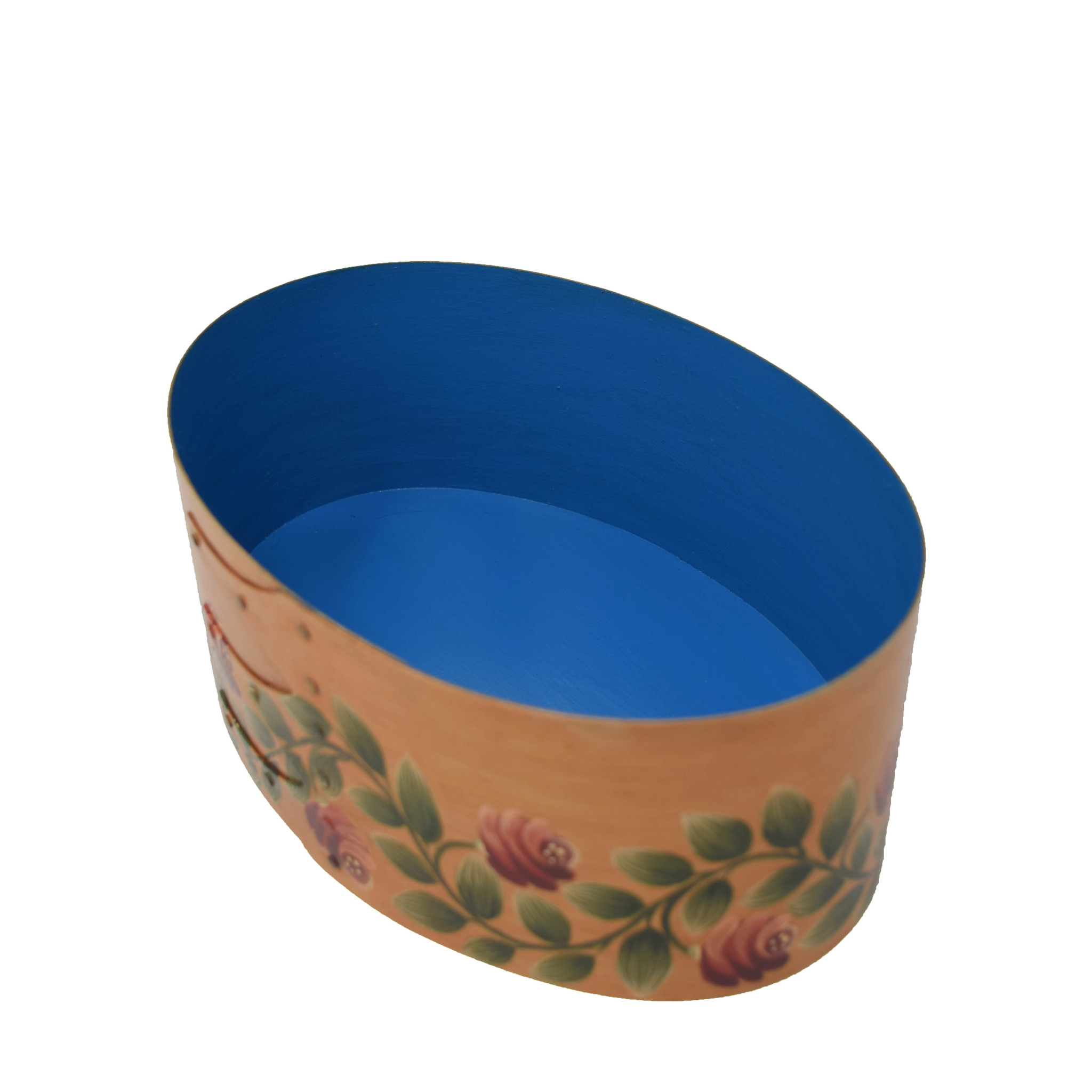 Oval Light Wood Box with Roses & Tulips-2