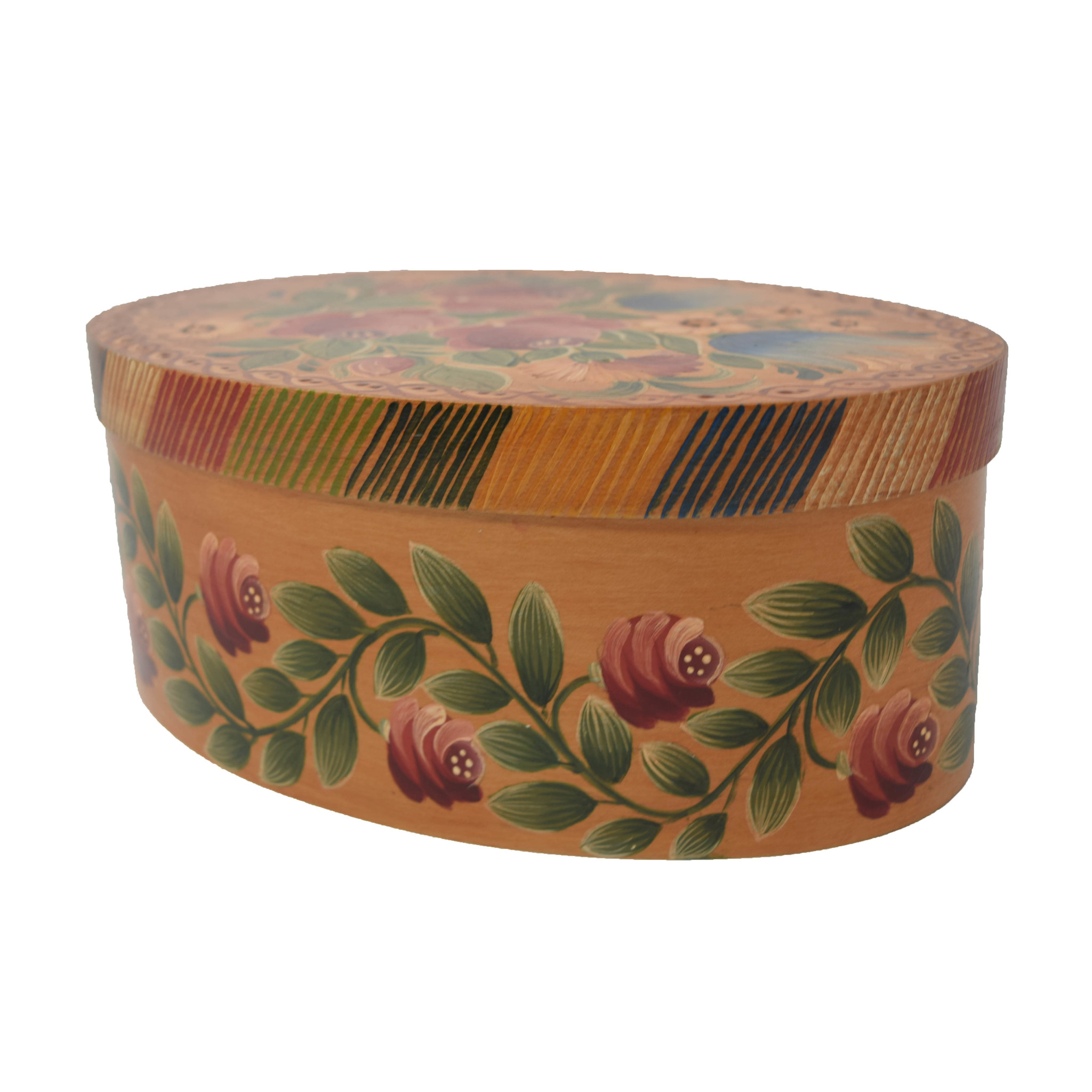 Oval Light Wood Box with Roses & Tulips-3