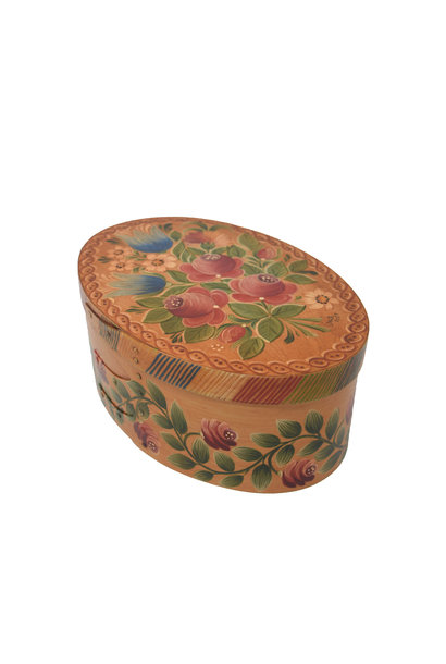 Oval Light Wood Box with Roses & Tulips