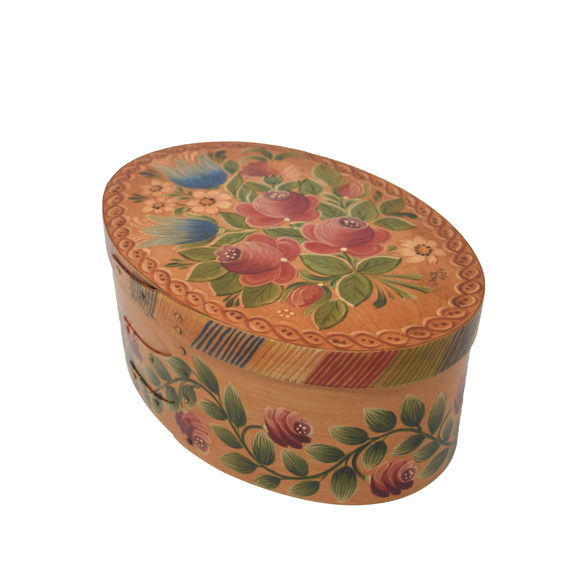 Oval Light Wood Box with Roses & Tulips-1