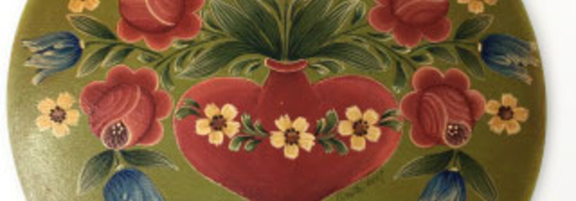 Round Green Yellow Box with Heart Vase & Roses