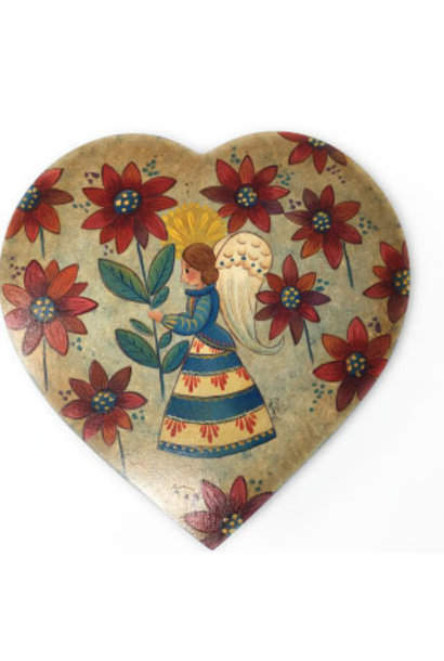 Heart Box with Angel & Flowers