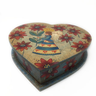 Heart Box with Angel & Flowers-2