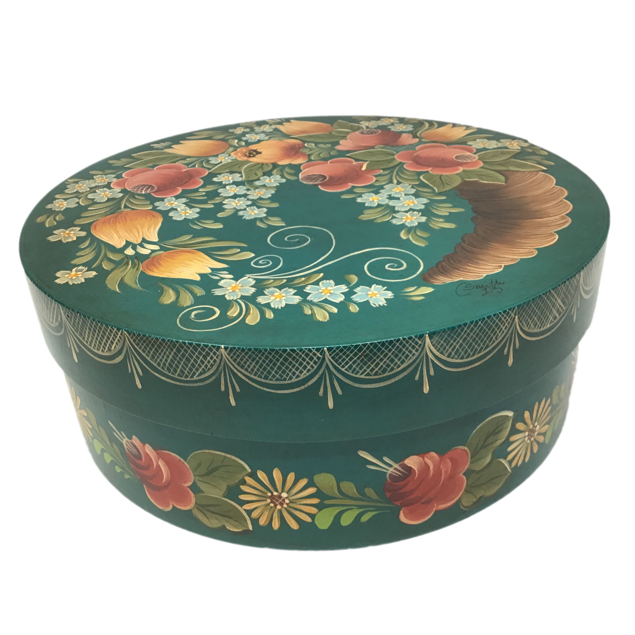 Round Blue Green Box Horn of Plenty with Flowers-2