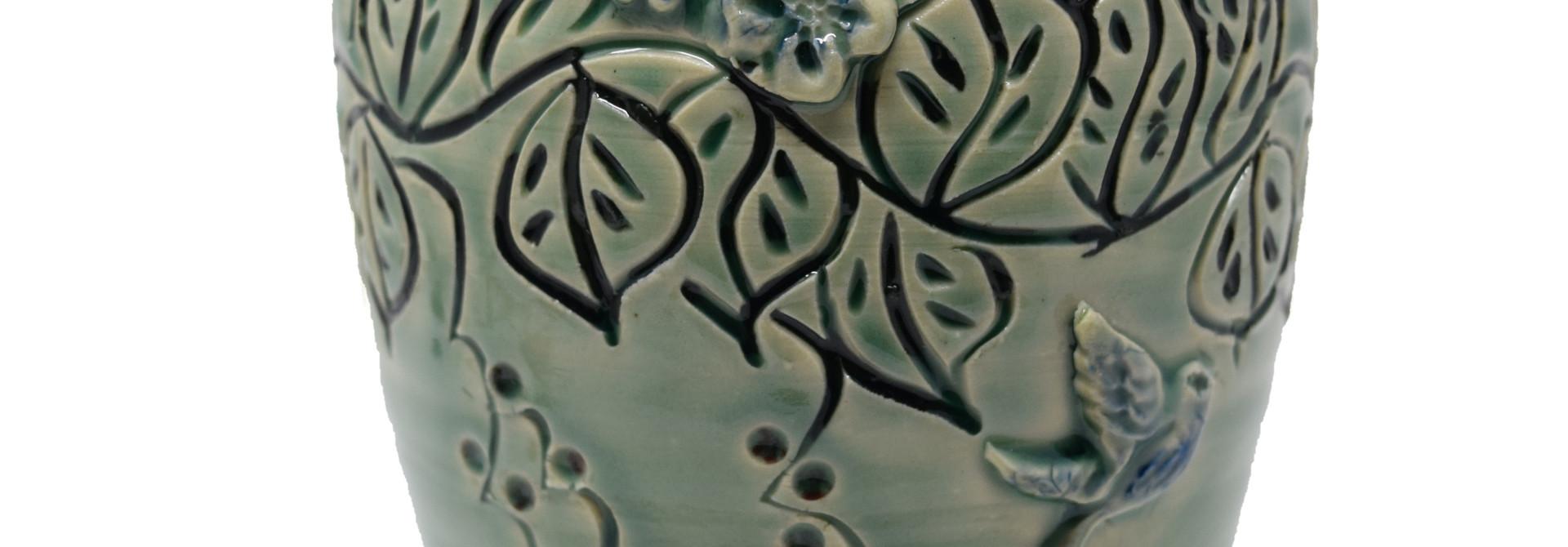 Medium Leaf Vase with Sprigs