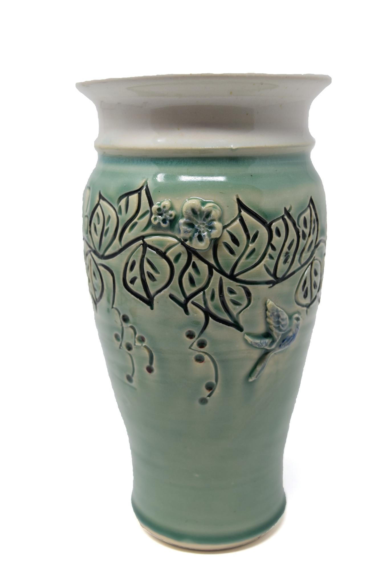 Medium Leaf Vase with Sprigs-1
