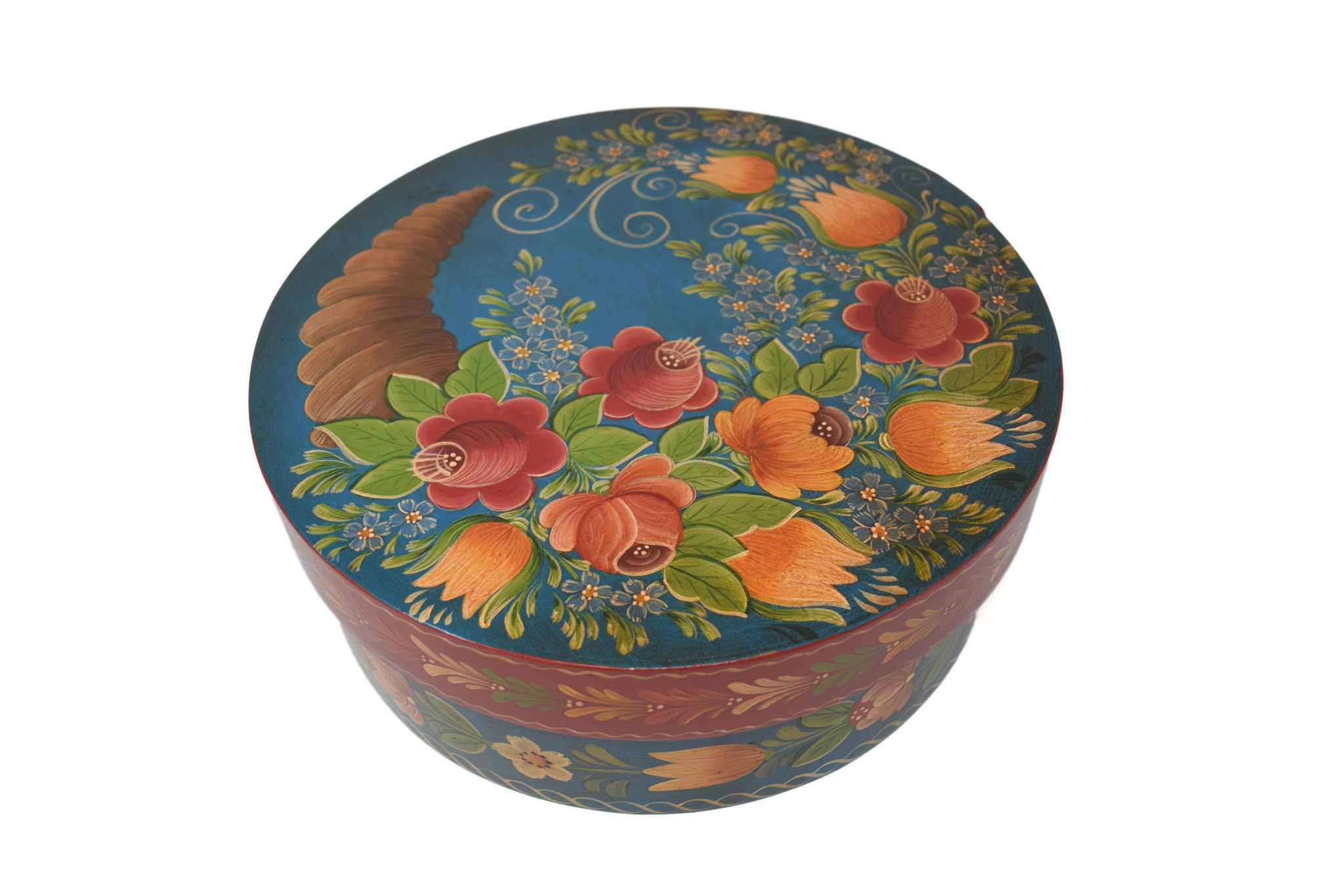 Round Turquoise with Horn of Plenty Flowers-1