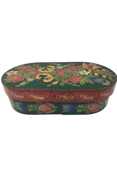 Oval Forest Green Box with Flowers