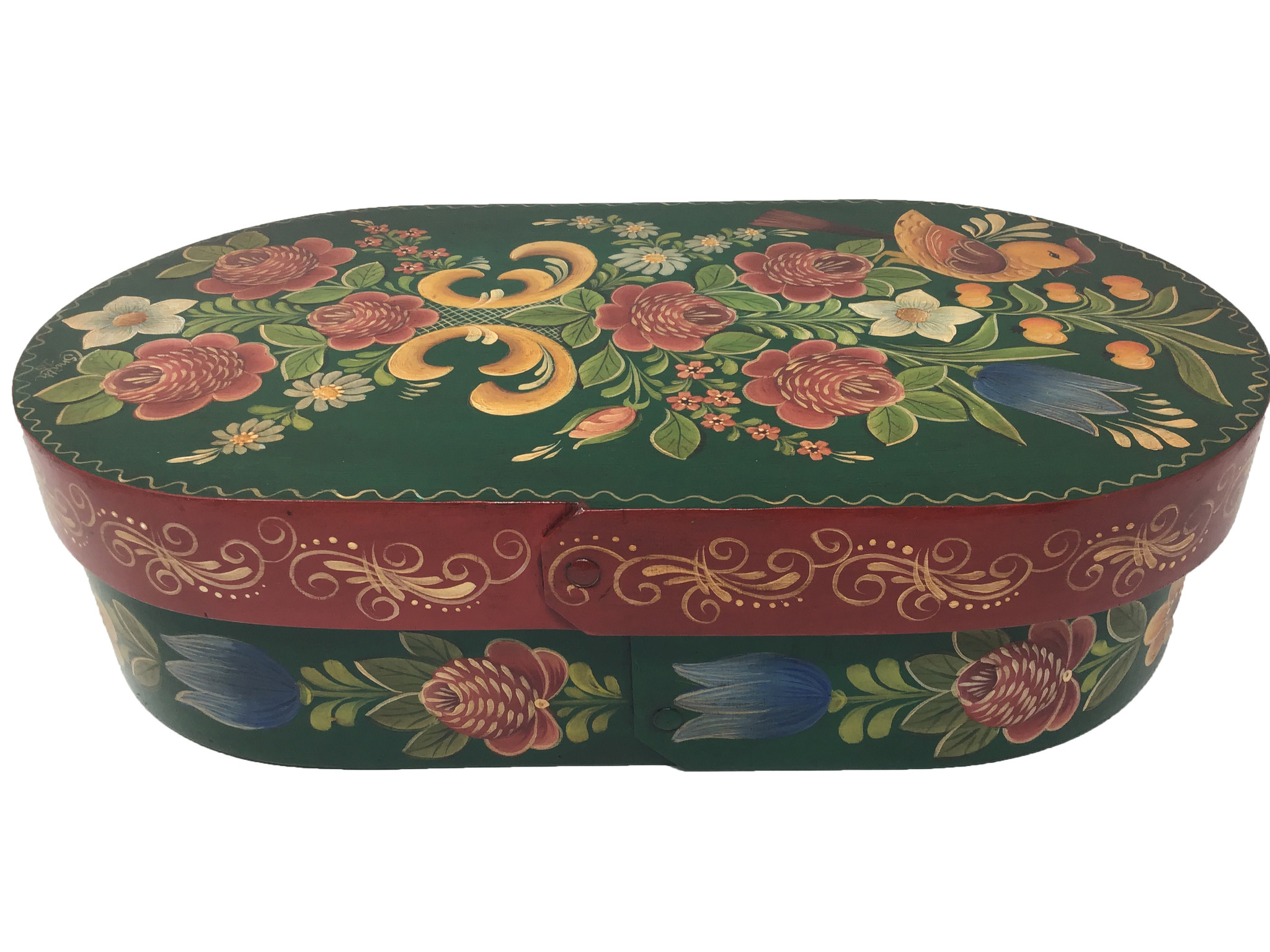 Oval Forest Green Box with Flowers-1
