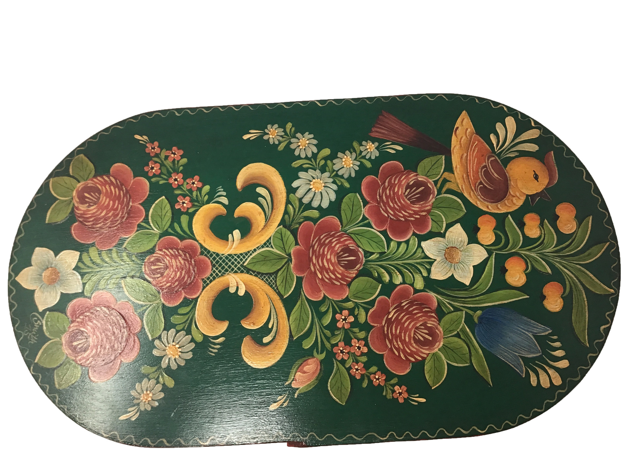 Oval Forest Green Box with Flowers-2