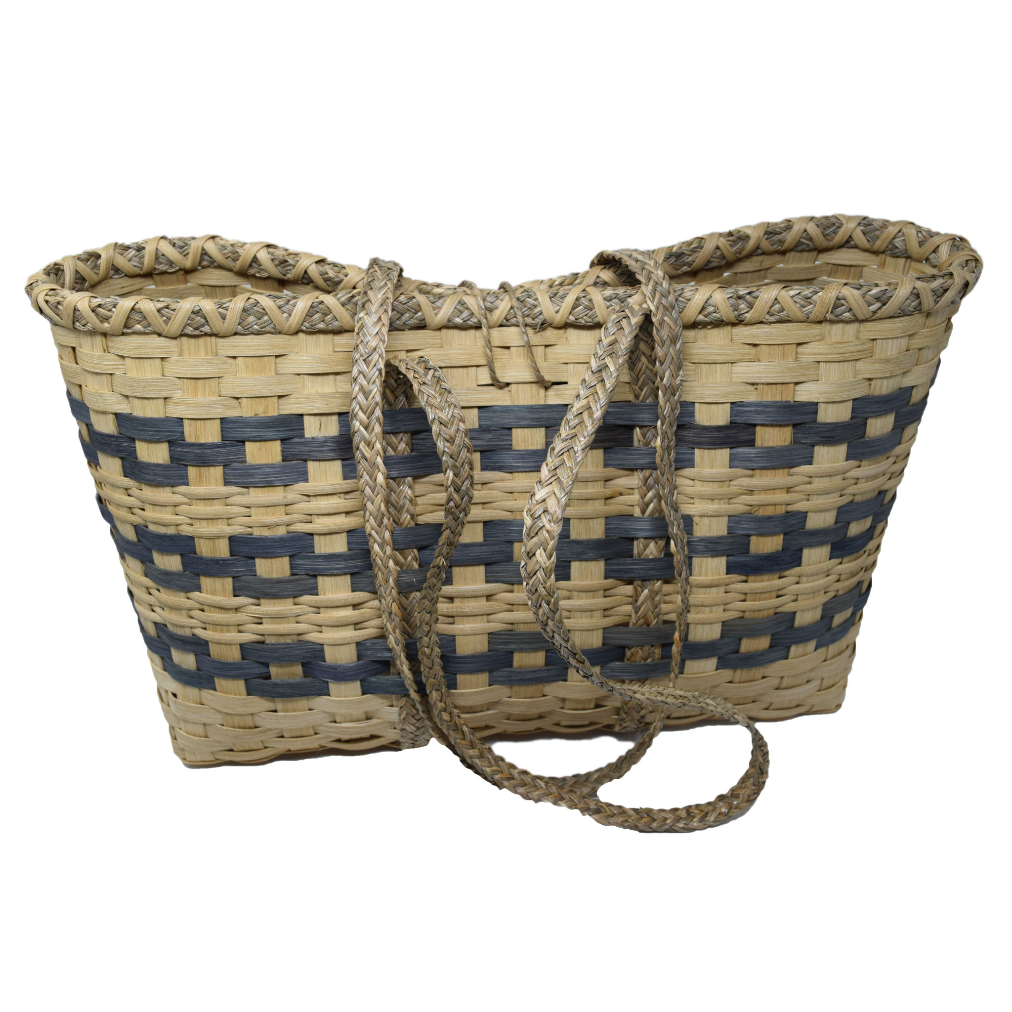 Fun Day Tote natural with blue gray stripe-2