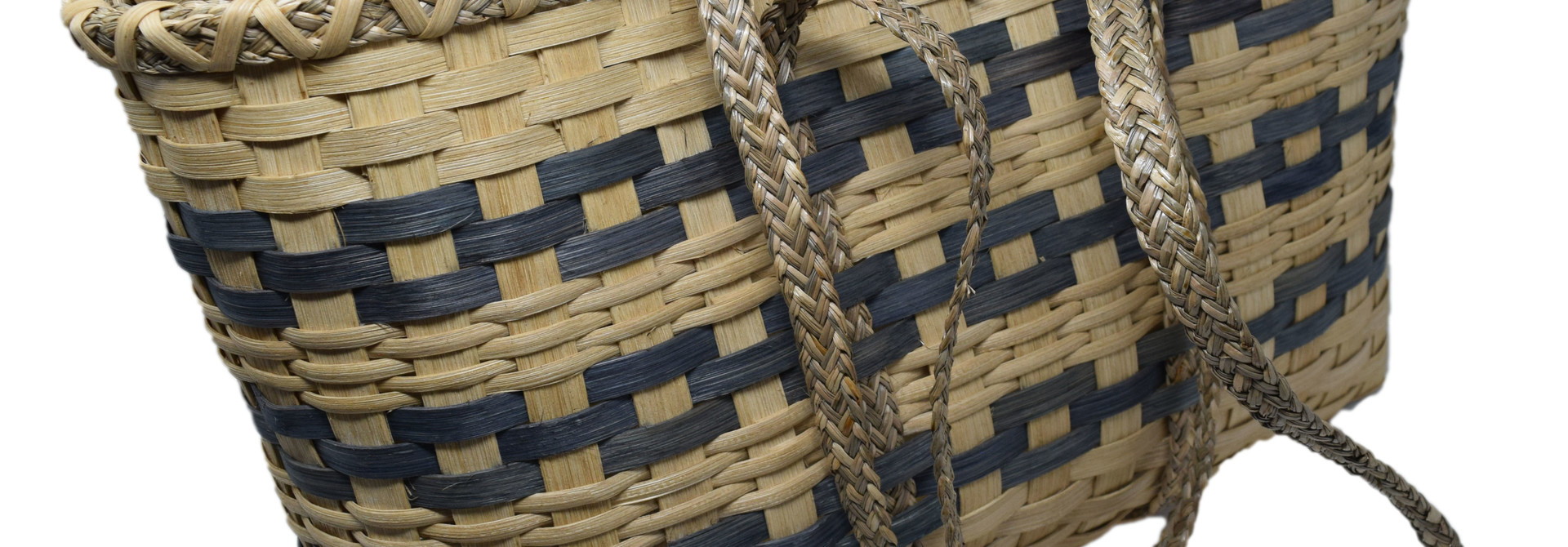Fun Day Tote natural with blue gray stripe