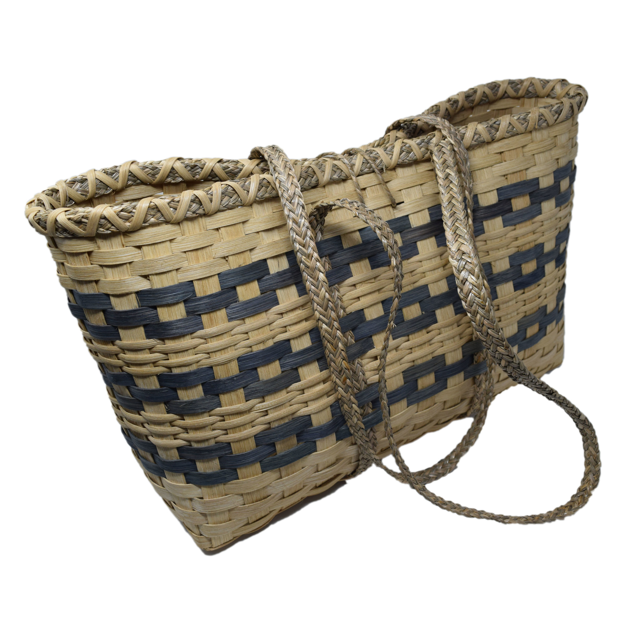 Fun Day Tote natural with blue gray stripe-1
