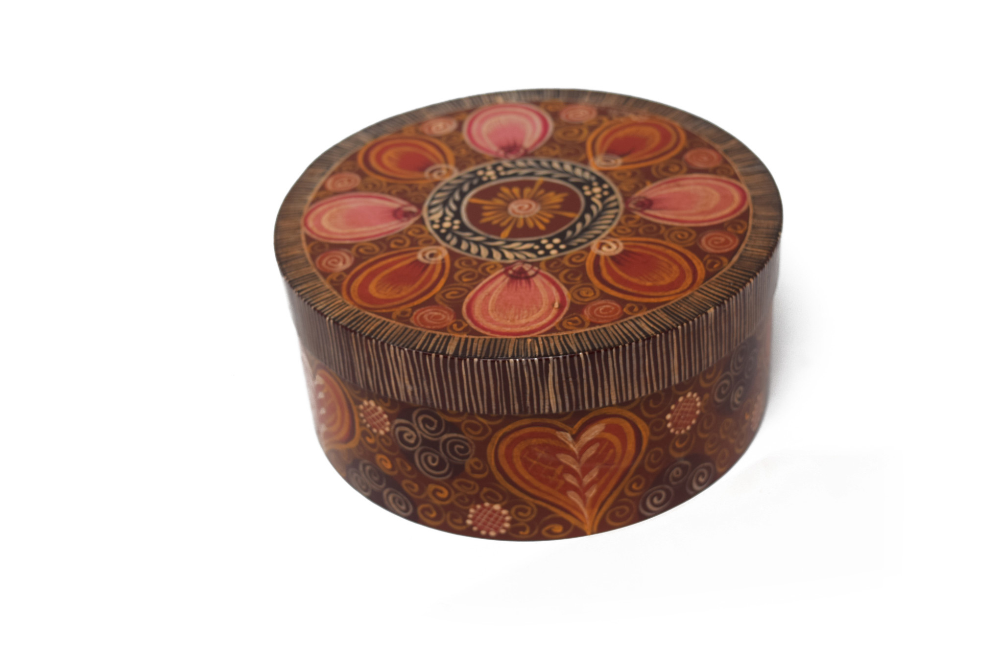 Round Brown box with designs-1
