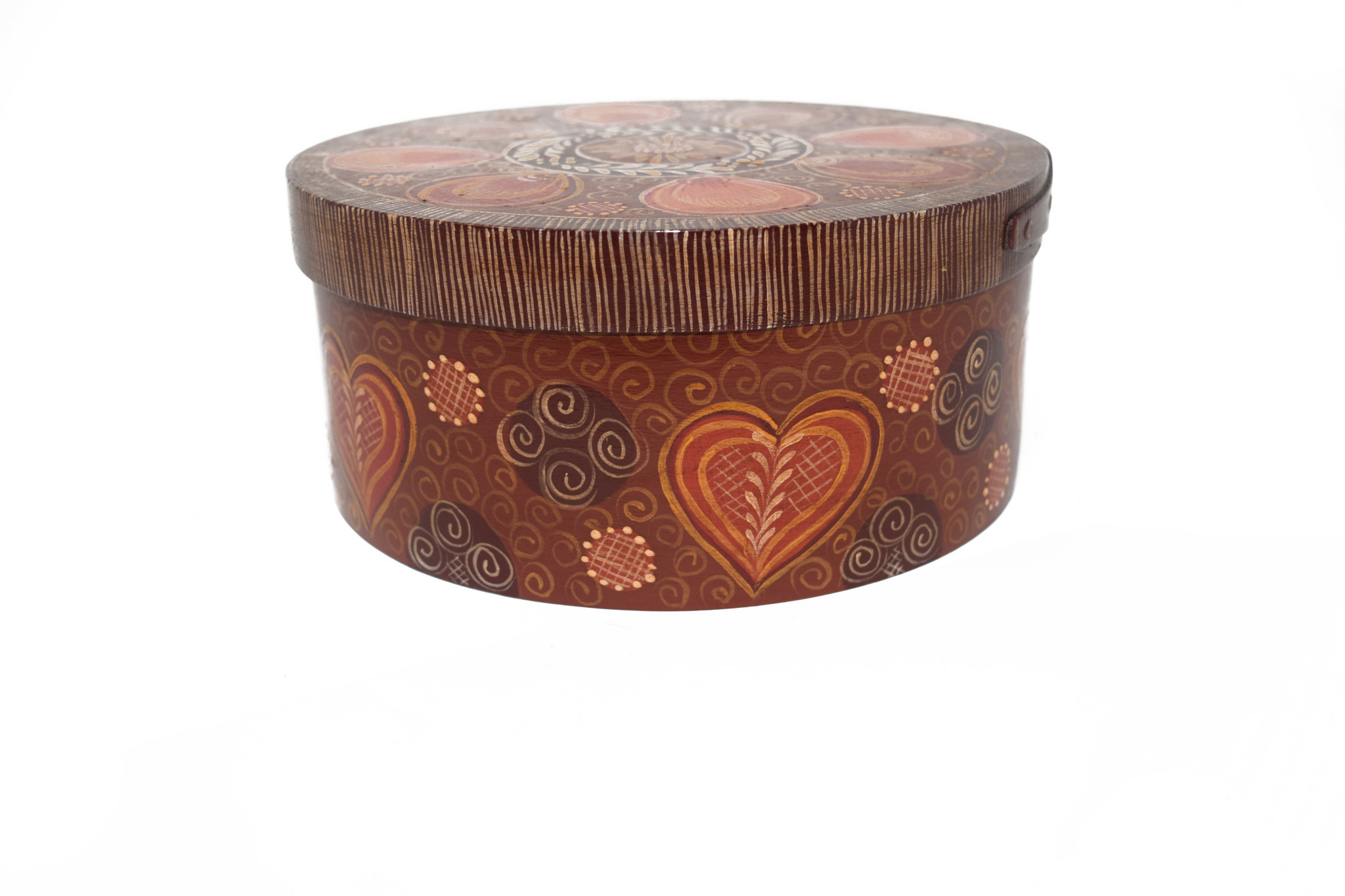 Round Brown box with designs-3