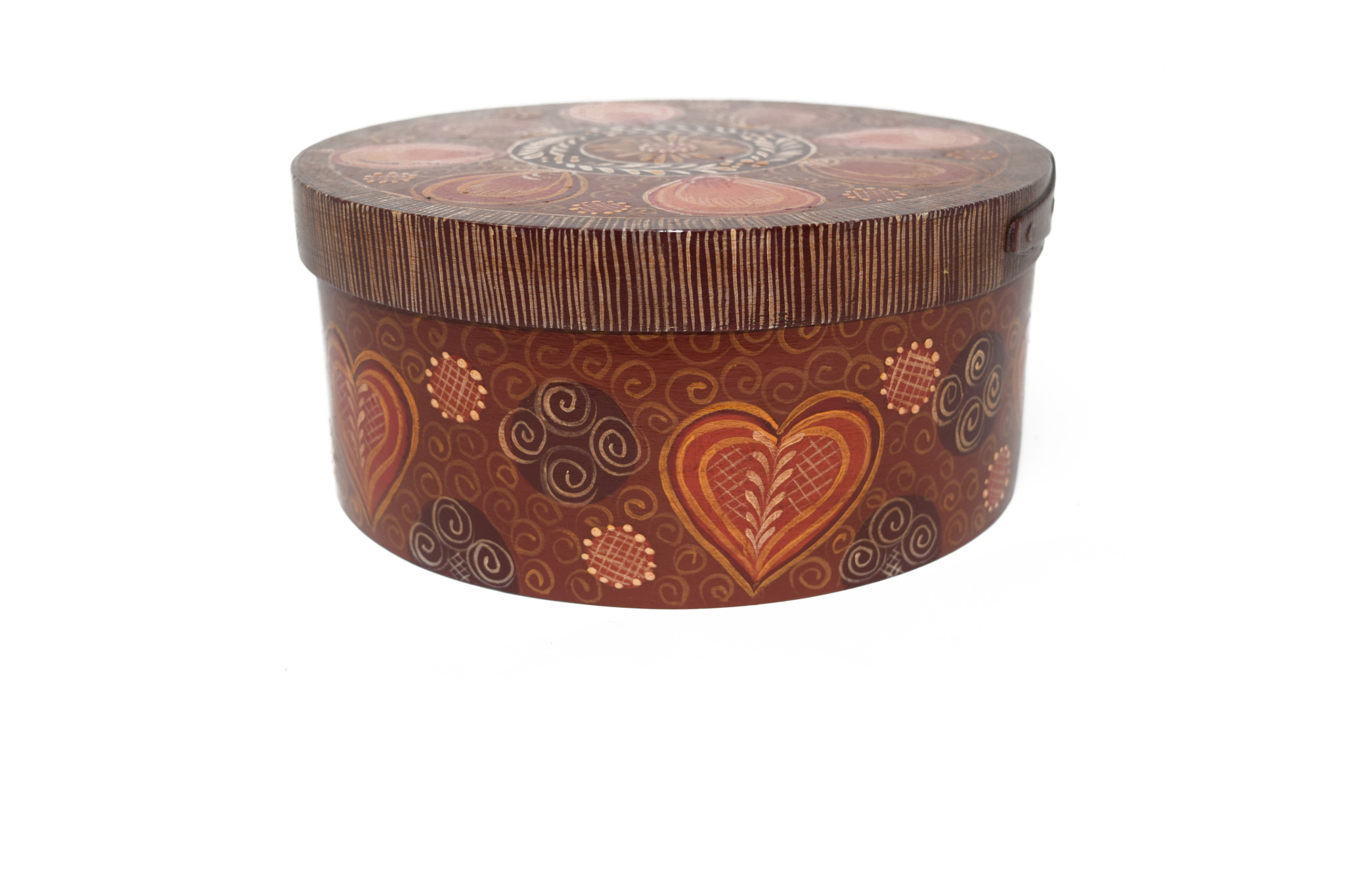 Round box brown, reds, pinks with design-2