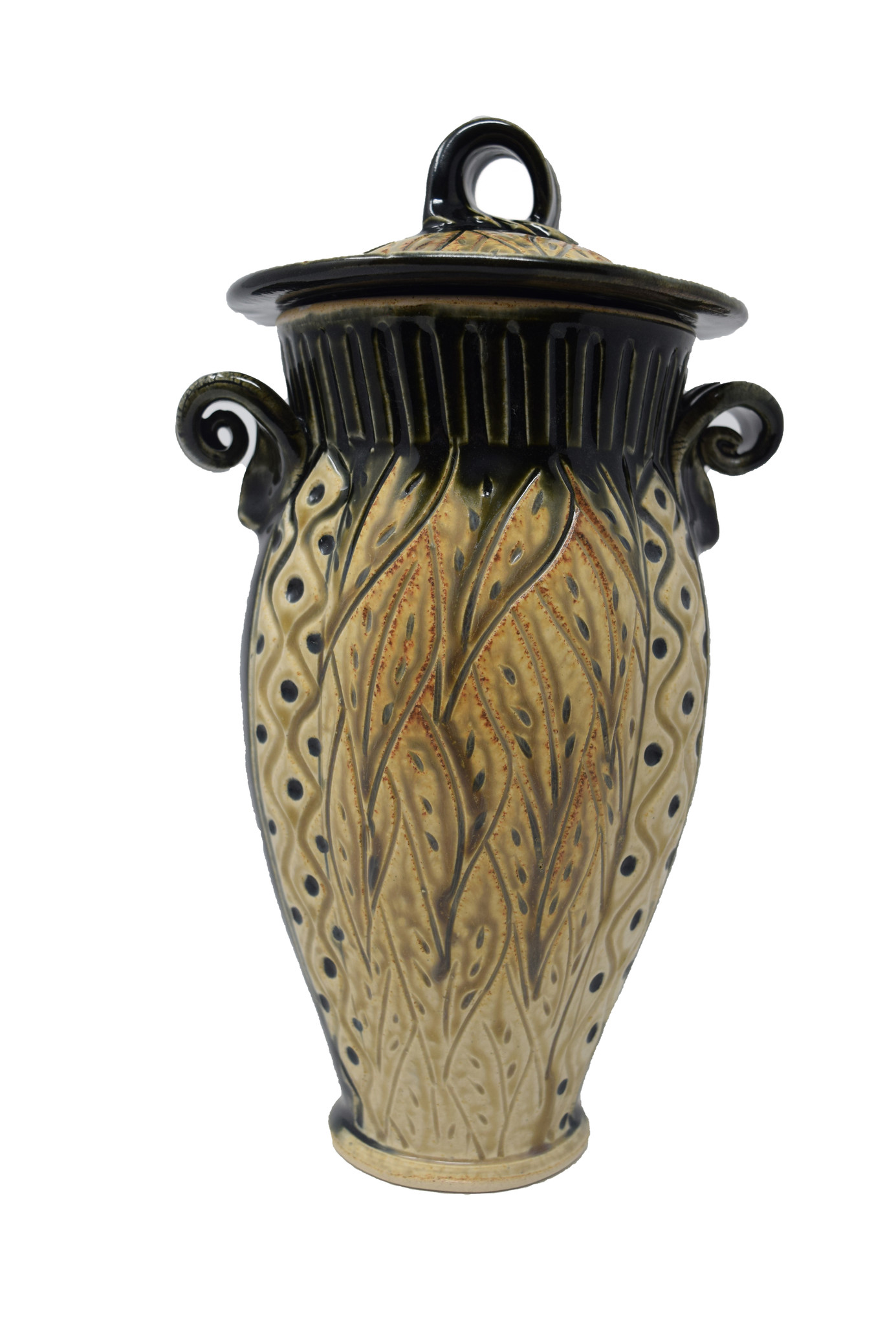 Tall Carved Jar-5