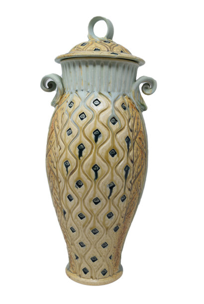 Tall Carved Jar