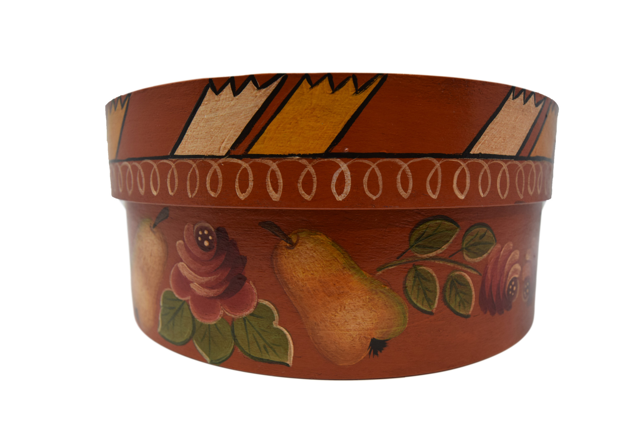 Round Box dark orange with basket, pears, and flowers-2
