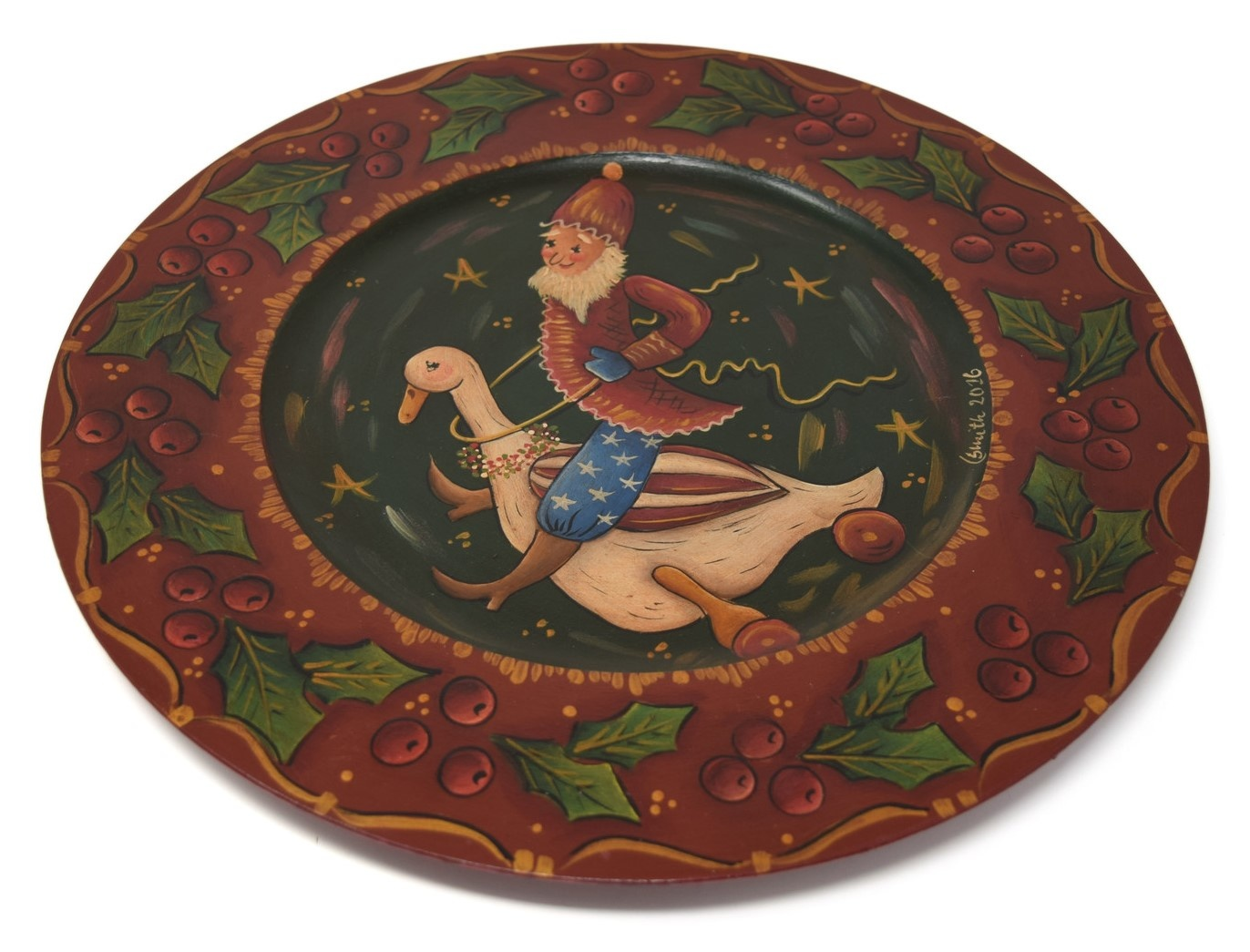 Wooden Plate with Santa on Goose-1