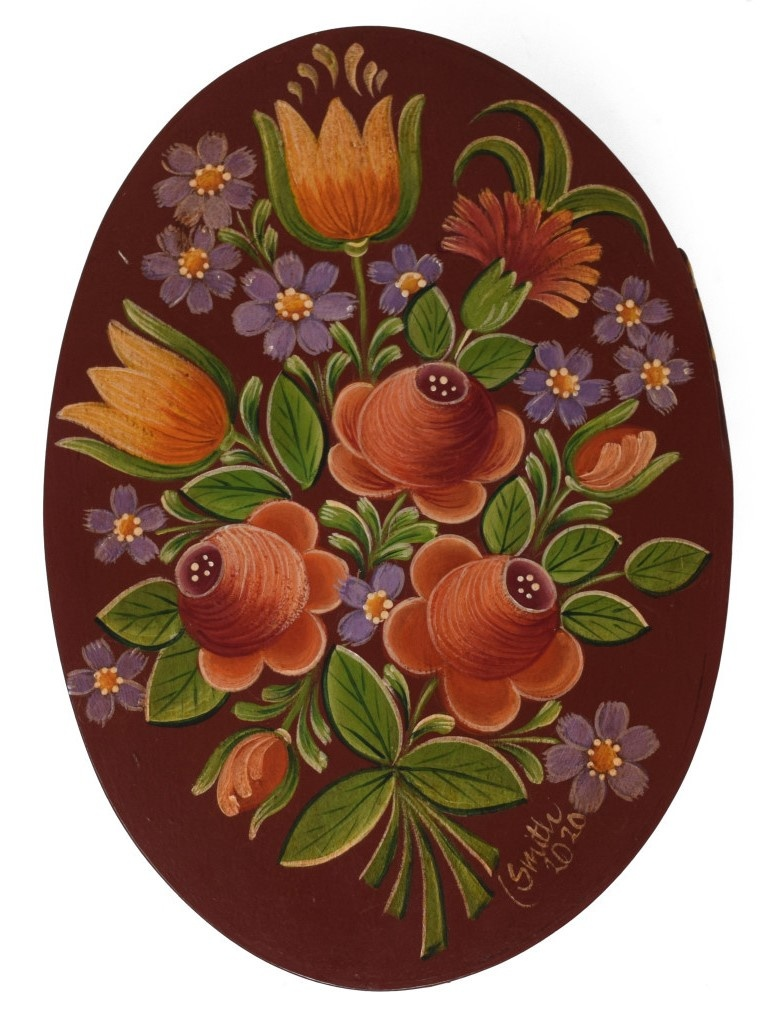 oval box reddish brown with roses and tulips-2