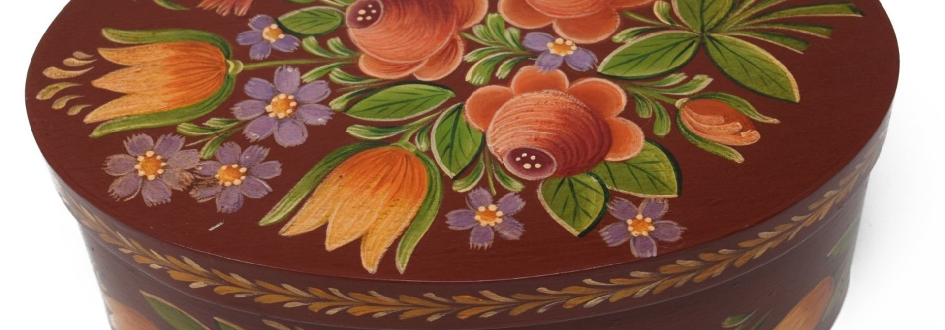 oval box reddish brown with roses and tulips