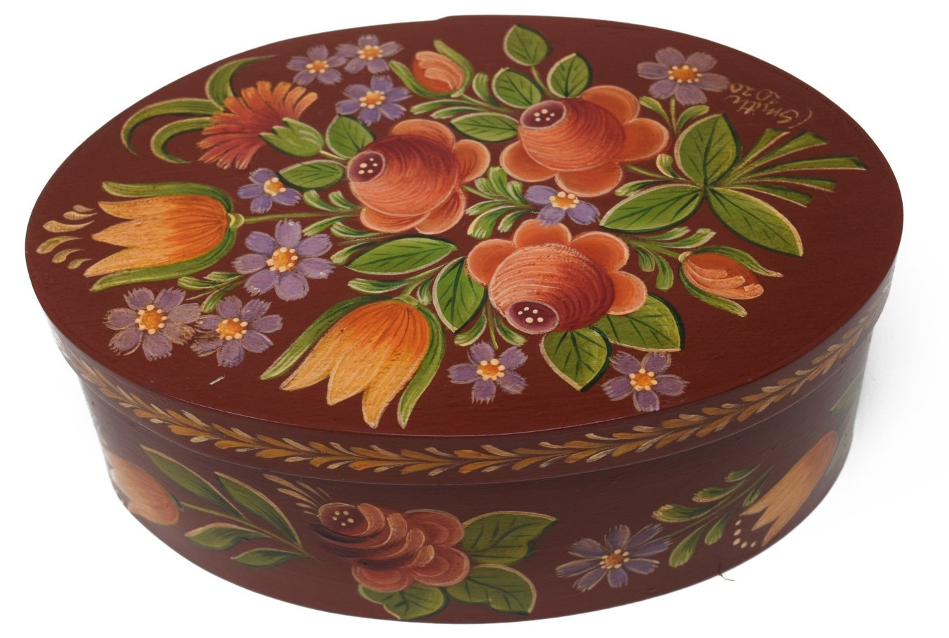 oval box reddish brown with roses and tulips-1