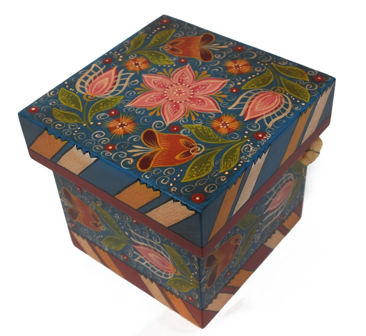 Square box, blue with tulips-3