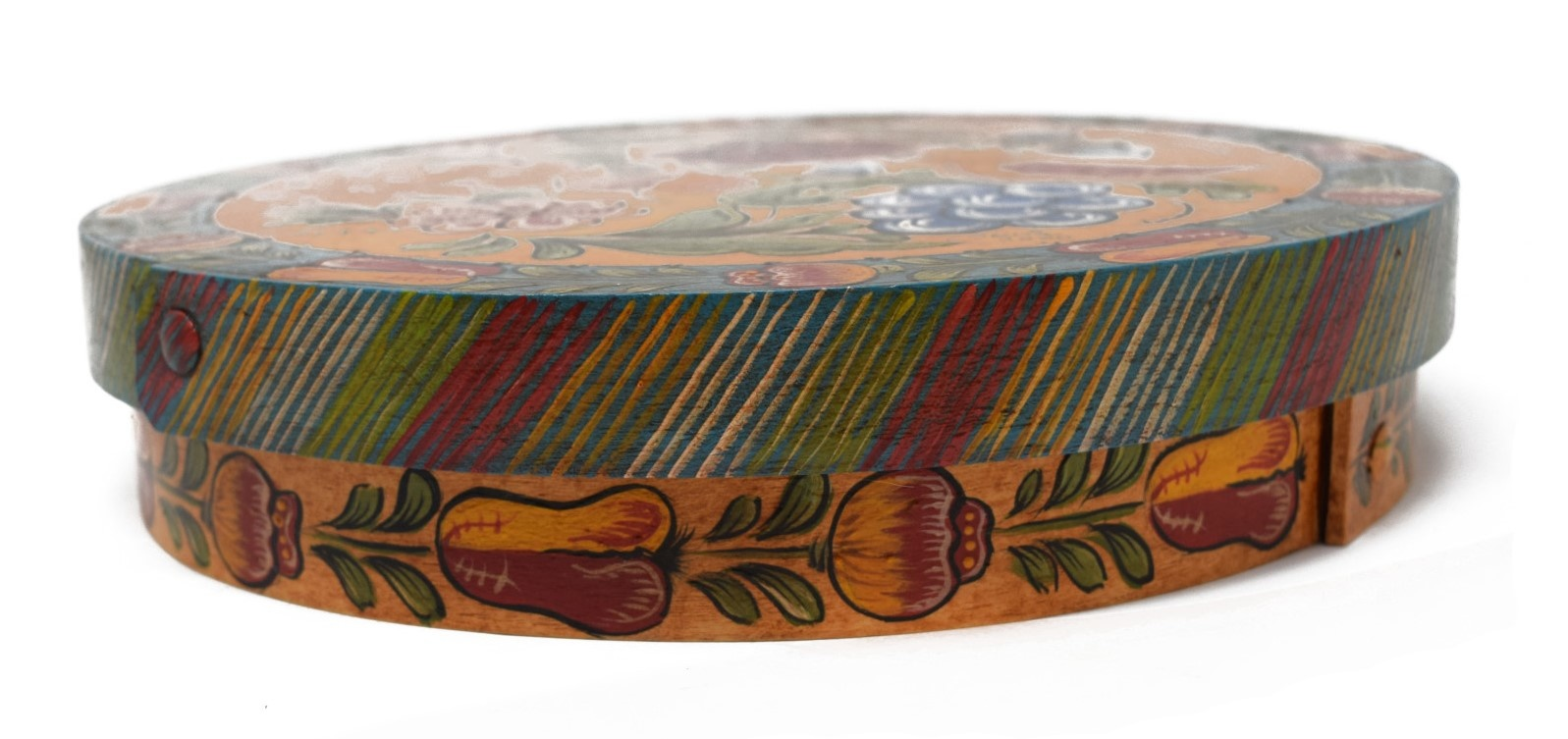 Round Box with Yellow and Turquoise Fruit, Flowers, and Bird-3