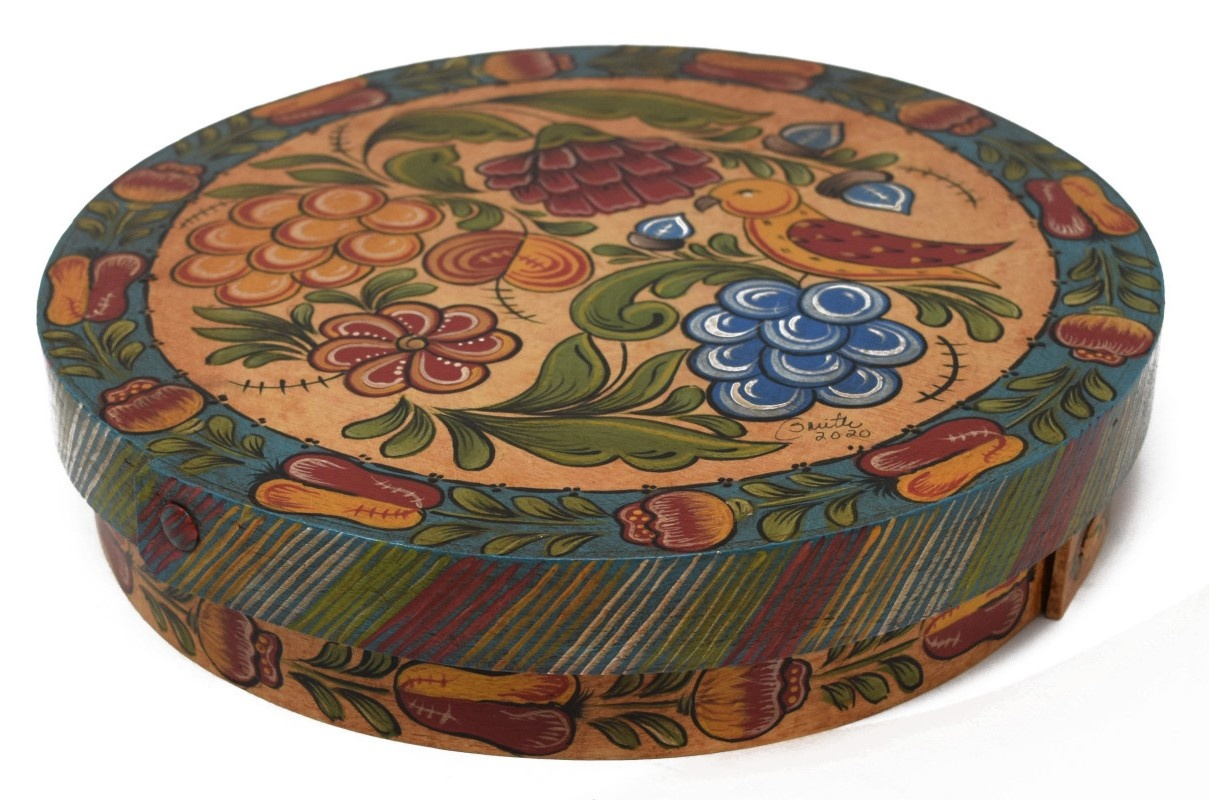 Round Box with Yellow and Turquoise Fruit, Flowers, and Bird-2