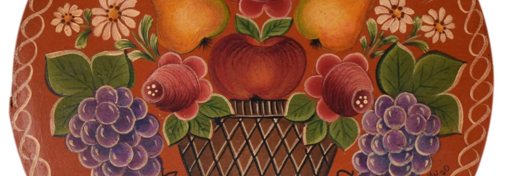 Round Box dark orange with basket, pears, and flowers