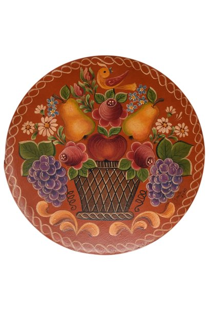 Round Box dark orange with basket, pears, and flowers