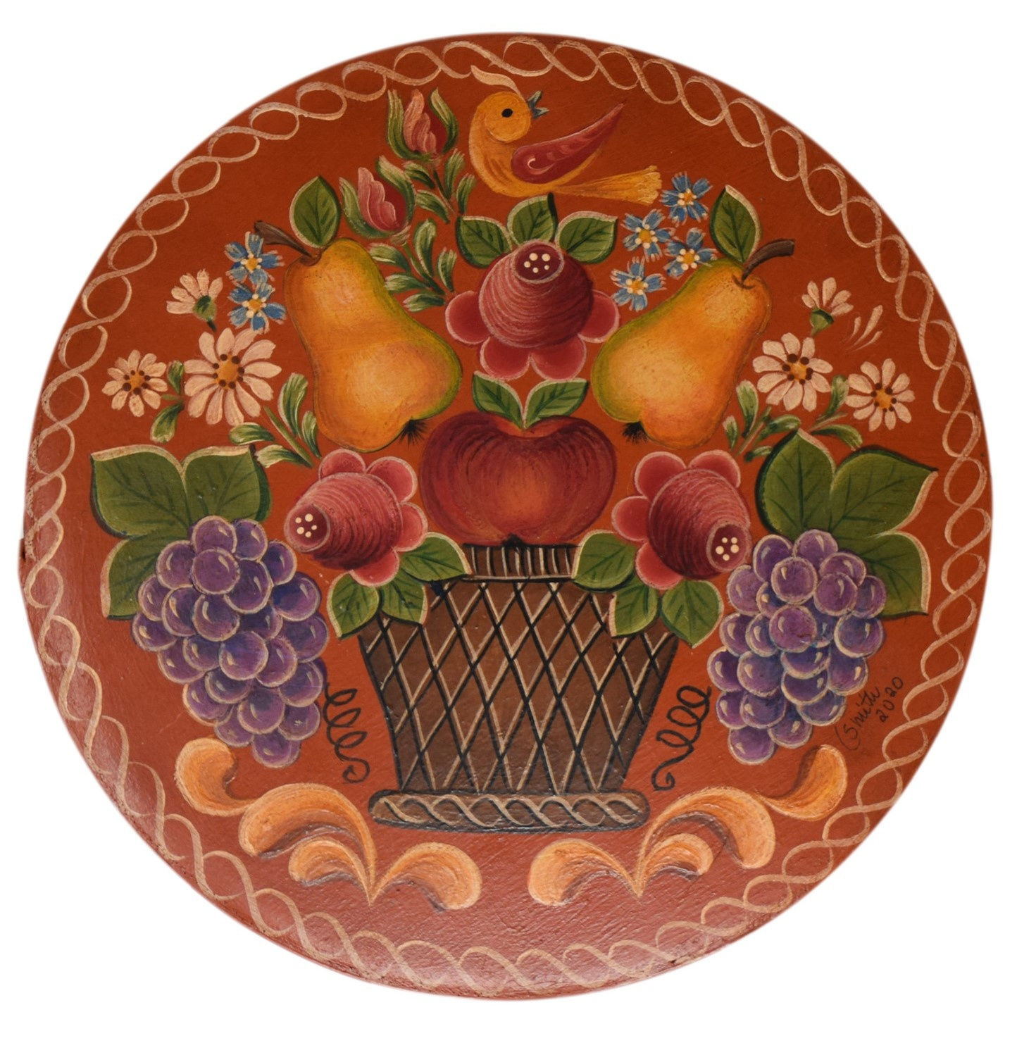 Round Box dark orange with basket, pears, and flowers-1