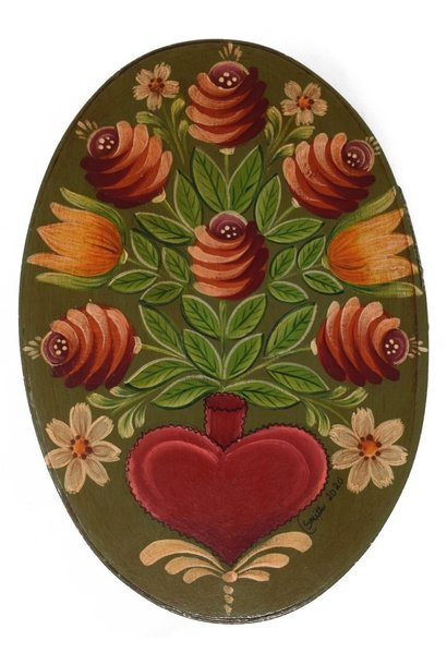 Oval Olive Green with Heart Vase and Flowers