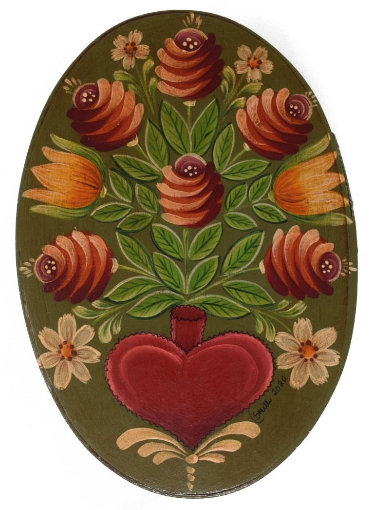 Oval Olive Green with Heart Vase and Flowers-1
