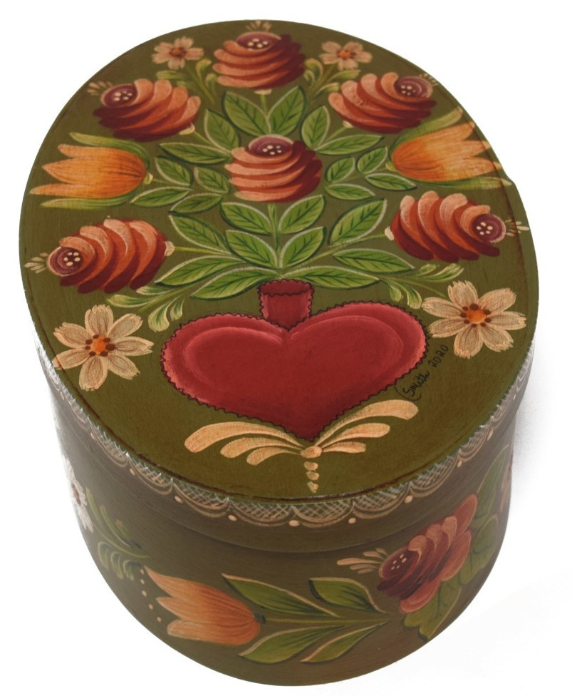 Oval Olive Green with Heart Vase and Flowers-2