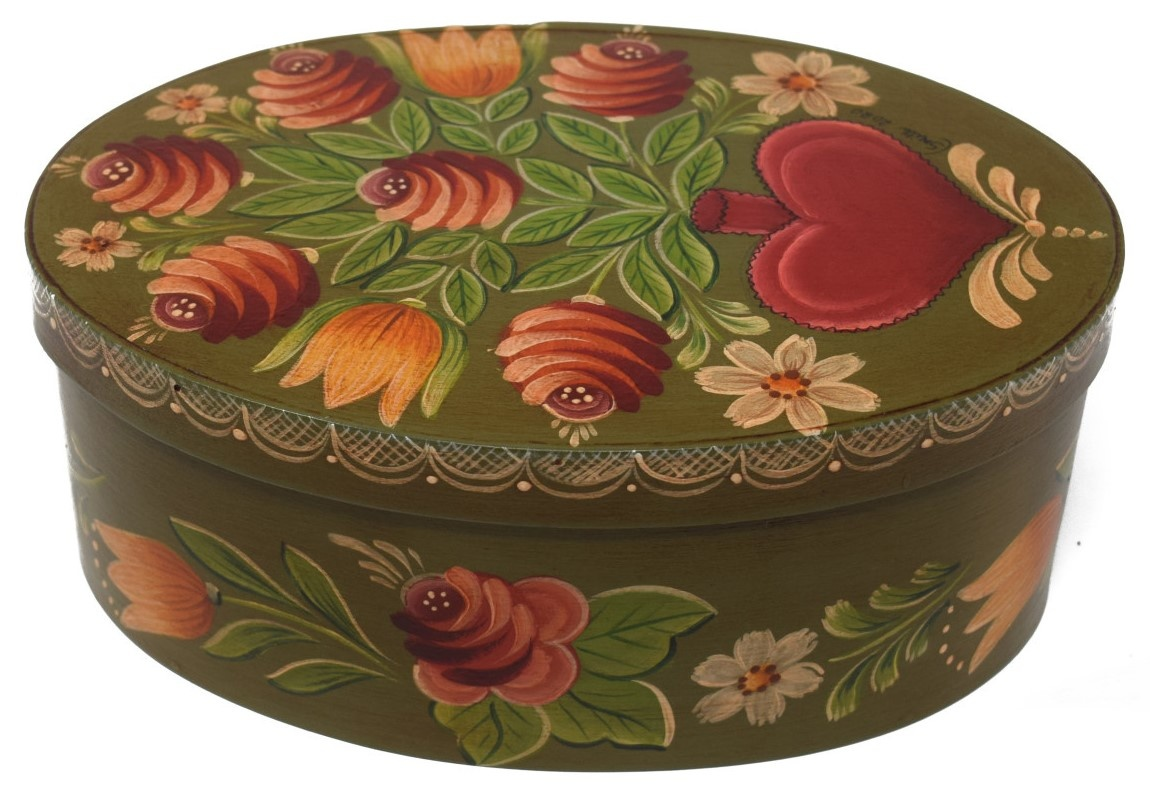 Oval Olive Green with Heart Vase and Flowers-3