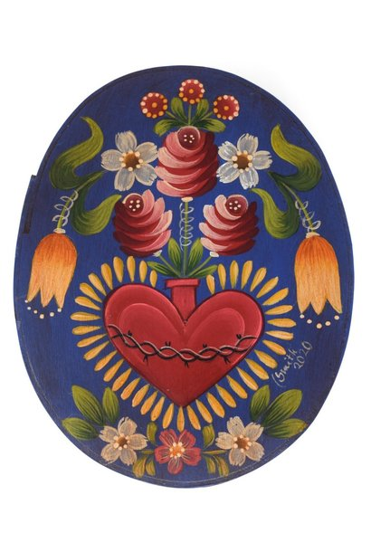 Oval Box Dark Blue/Purple with Heart Vase and Flowers