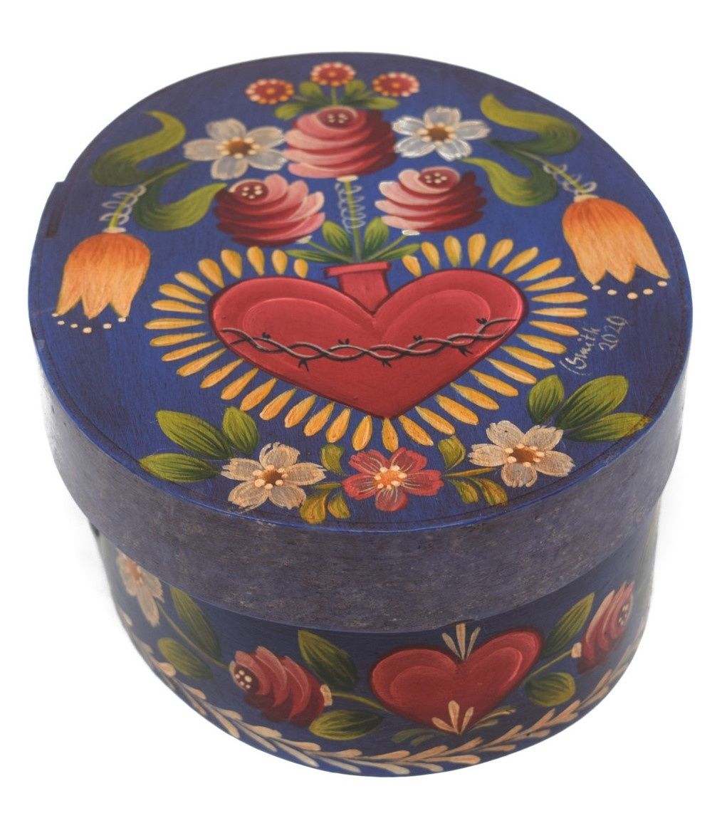 Oval Box Dark Blue/Purple with Heart Vase and Flowers-2