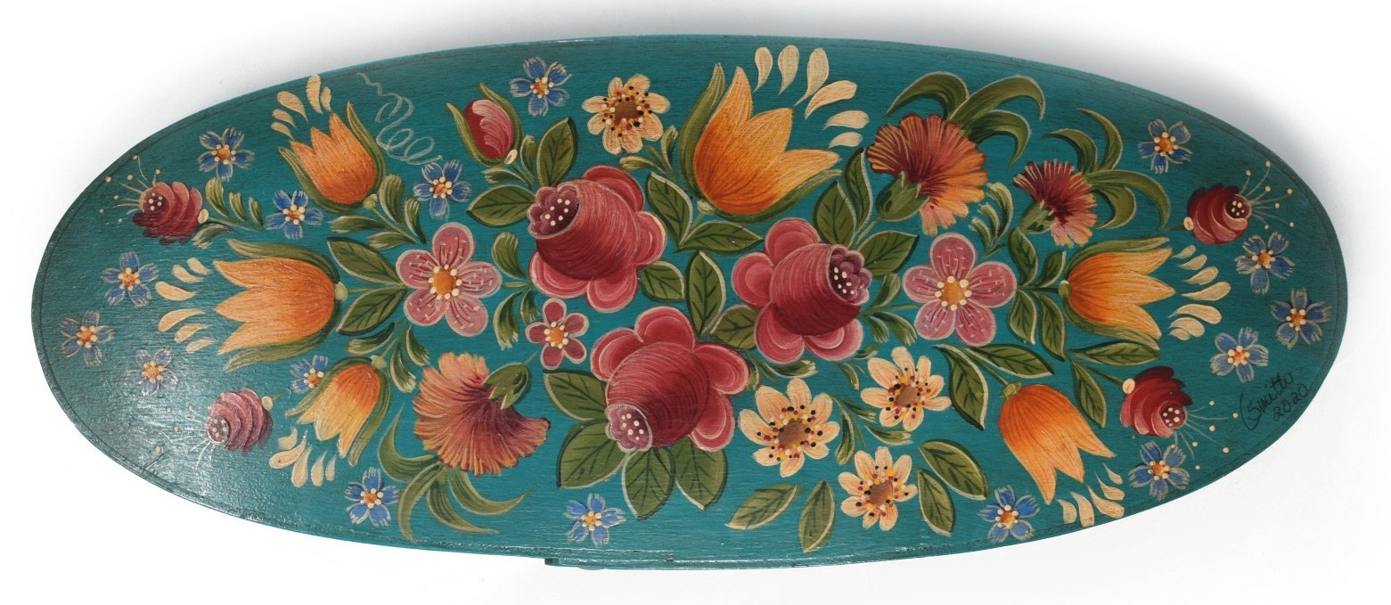 Oval box teal with flowers-2