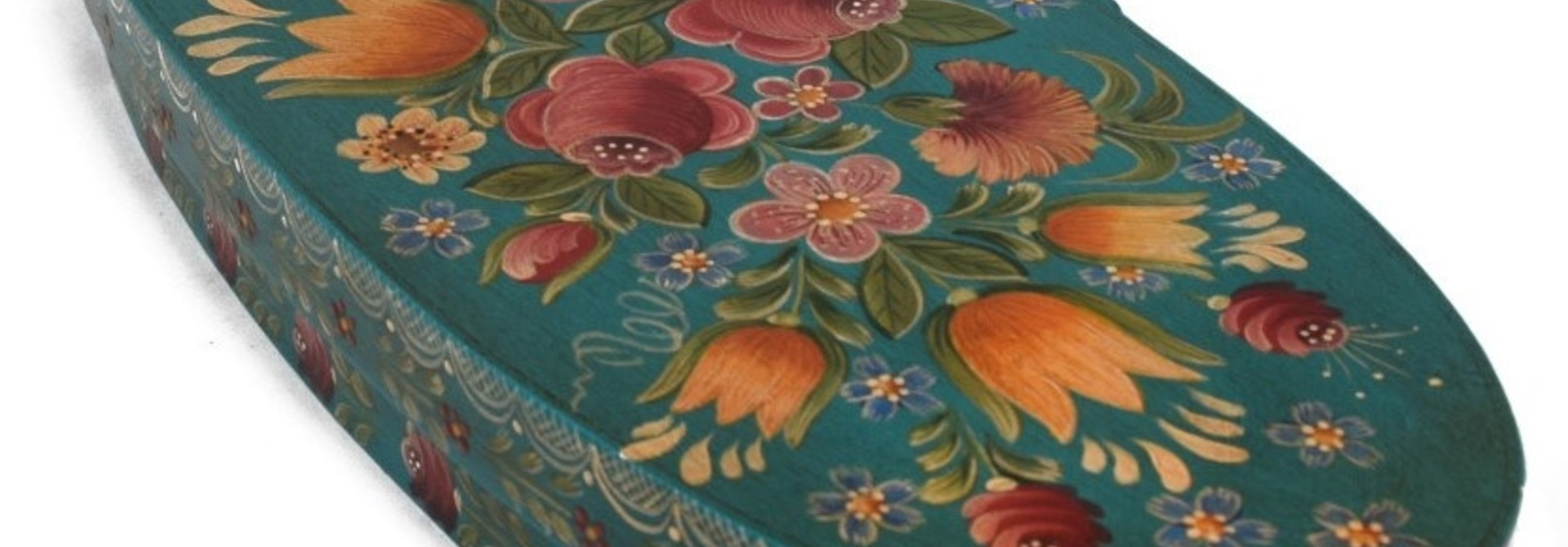 Oval box teal with flowers