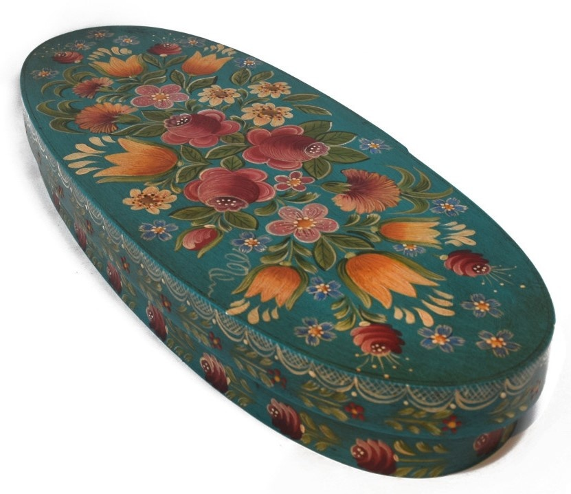 Oval box teal with flowers-1